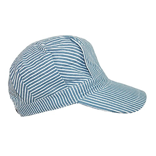 CTM Kids' Cotton Blue Stripe Train Engineer Cap, Blue Stripes -