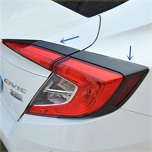 Sport Style Carbon Fiber Print Chrome Rear Taillight Cover Trim for Honda Civic Sedan 2016 2017 2018 (Carbon Fiber Print)
