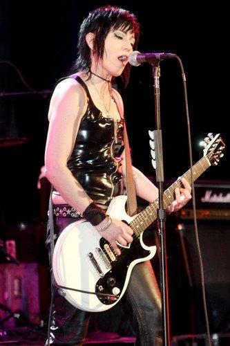 Joan Jett Stunning Image In Concert Black Leather Vest & Guitar 24X36 Poster