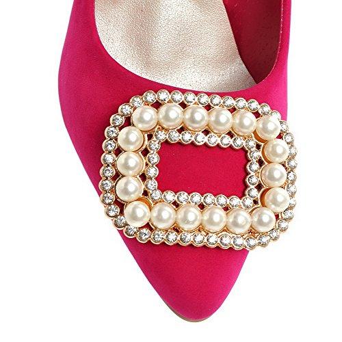 VogueZone009 Damen Nubukleder Eingelegt Ziehen auf Spitz Zehe Hoher Absatz Pumps Schuhe Rosa
