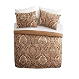 8 Piece Light Brown Beige Damask Floral Theme Comforter Full Set, Beautiful All Over Paisley Flower Bedding, Multi French Country Flowers Scroll Motif Themed Pattern, Tan Cream Ivory White