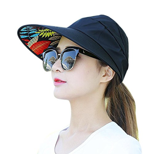 Golf Top Hat (Muryobao Women's Sun Hats Foldable Wide Brim Roll Up Open Top Hat UV Protection Visor Caps For Summer Beach Golf Fishing Outdoor Black)