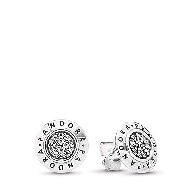 81e517a6c8d2c PANDORA Pandora Signature Stud Earrings, Sterling Silver, Cubic Zirconia,  One Size