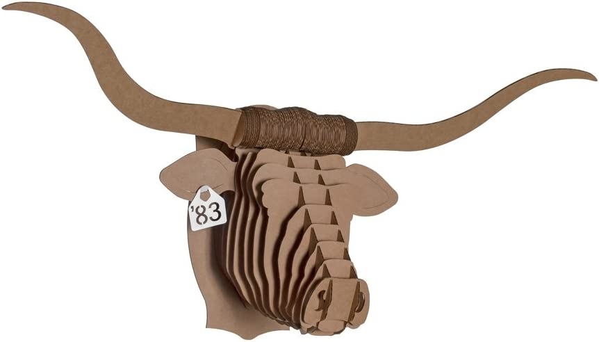 Cardboard Safari Recycled Cardboard Animal Taxidermy Longhorn Trophy Head, Tex Brown Small