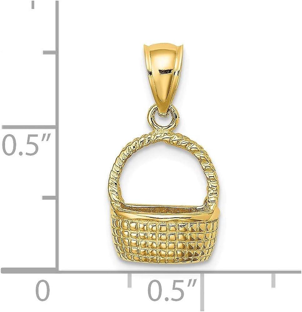 11mm x 10mm Solid 14k Yellow Gold 2-D Flat Back Basket Charm Pendant
