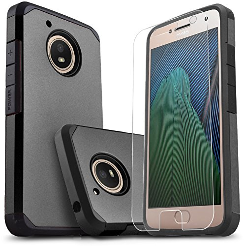 Moto G5 Case, [NOT FIT Moto G5 Plus] Starshop [Shock Absorption] Dual Layers Impact Advanced Protective Cover with [Premium HD Screen Protector Included] for Motorola Moto G5 (Black)