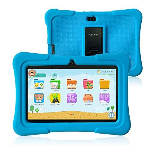 Pritom 7 inch Kids Tablet | Quad Core Android,1GB RAM+16GB ROM | WiFi,Bluetooth,Dual Camera | Educationl,Games,Parental Control,Kids Software Pre-Installed with Kids-Tablet Case (Light Blue) (7 Android Quad Core Tablets)