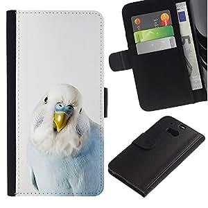 Be Good Phone Accessory Caso del tirón Billetera de Cuero Titular de la tarjeta Carcasa Funda de Protección para HTC One M8//Bird Parrot Blue Baby White Yellow Peak