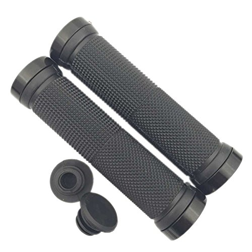 (130mm Rubber Anti-slip Handlebar Hand Grips MTB Mountain Bike Cycling Lock On Handle Grip Bar End (black))