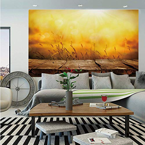 (Fall Removable Wall Mural,Empty Wooden Tabletop Layout Setting Sun Afternoon Wheat Agriculture Print,Self-Adhesive Large Wallpaper for Home Decor 66x96 inches,Brown Orange Yellow)