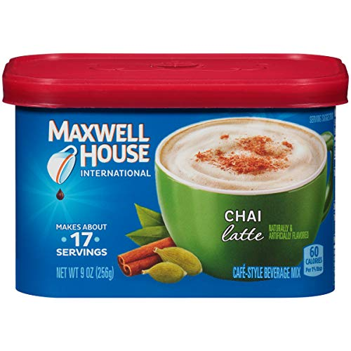 Maxwell House International Cafe Flavored Instant Coffee, Chai Latte, 9 Ounce Canister (Pack of 4)