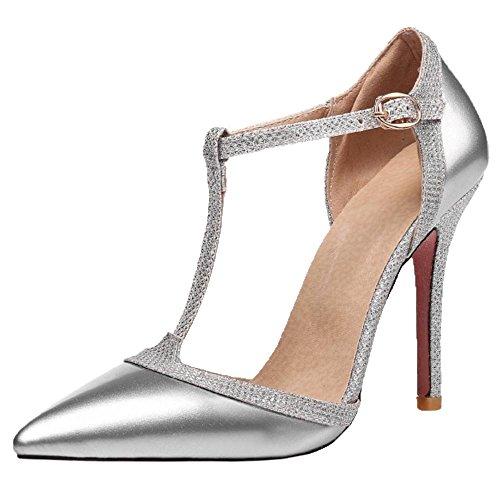 Chaussures RAZAMAZA Femmes Salomes Aiguille Escarpins Talons Silver AXzArq