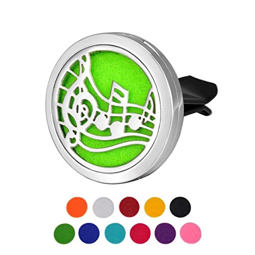 Car Air Freshener Aromatherapy Essential Oil Diffuser Music Note Stainless Steel Locket,11Refill Pads by Trinkets Dream