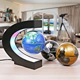 MECO 3''Floating Globe Magnetic Levitation Rotating Anti-gravity Globe World Map Earth Planet with C Shape Stand Colored LED Light for Home Office Desk Classroom Decoration Educational Fun Gifts for Kids Three Color for One Set