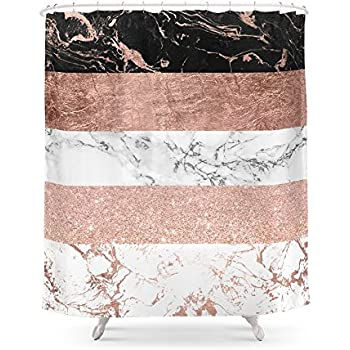 Society6 Modern Chic Color Block Rose Gold Marble Stripes Pattern Shower Curtain 71 By 74