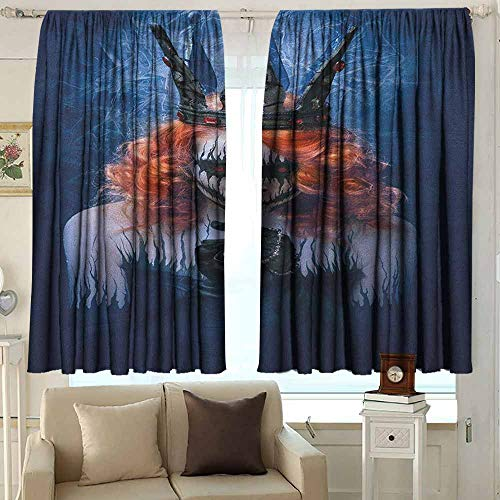 Beihai1Sun Outdoor Curtains Queen Queen of Death Scary Body Art Halloween Evil Face Bizarre Make Up Zombie Simple Stylish 55 W x 63 L Inches Navy Blue Orange Black -