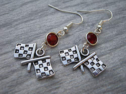 (Checkered Flag Birthstone Earrings, Personalized Race Earrings, Stock Car Racing Jewelry)