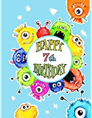 Happy 7th Birthday: Fun Monster Themed Birthday Book For Kids with Lined Pages That Can be Used as a Journal or Notebook