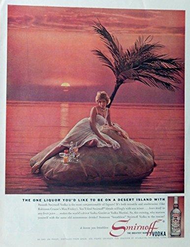 smirnoff-vodka-60s-print-ad-color-illustration-scarce-old-ad-woman-on-desert-island-original-1961-th