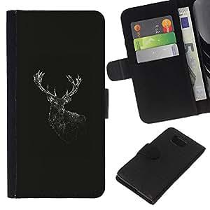 YiPhone /// Tirón de la caja Cartera de cuero con ranuras para tarjetas - Geometría de los ciervos - Samsung ALPHA G850
