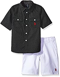 U.S. Polo Assn. Little Boys\' White Twill Jean Short and Chambray Sport Shirt, Black, 5