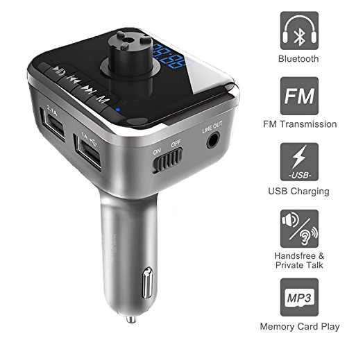 Bluetooth FM Transmitter with Emergency Car Window Breaker, SICAO Wireless Radio Adapter Stereo Music Player Supporting Hand Free Calling,Dual USB 2 Ports Changer,TF Card,Voice (Cellular Innovations Cigarette Lighter)