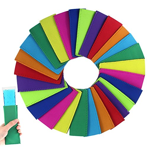 Creatrill 27 Pack 9 Colors Ice Pop Sleeves Popsicle Holders Bags, Neoprene -