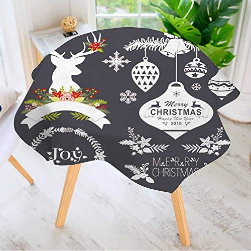 Leighhome Spillproof Polyester Fabric Round Tablecloth- Chalkboard Christmas Set Elegant Printed Table Cloth 67