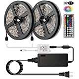 magnificent tv room accent wall [NEW 2018] LED Strip Lights Kit 2-Pack x 5M - 32.8ft (10M) 300 LEDs SMD 5050 RGB Light with 44 Key Remote Controller, Extra Adhesive 3M Tape, Flexible Changing Multi-Color Lighting Strips for TV, Room
