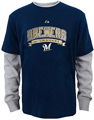 (Majestic Milwaukee Brewers Hangdown Long Sleeve Mens Shirt Navy Big & Tall Sizes (4XT))