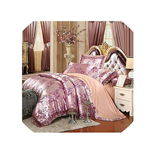 Luxury Silk Bedding Set Embroidery Bed Linens Satin Bed Sheet Set Jacquard Bedclothes Queen/King Size Bed Cover 4/6Pcs,24,Queen 6Pcs