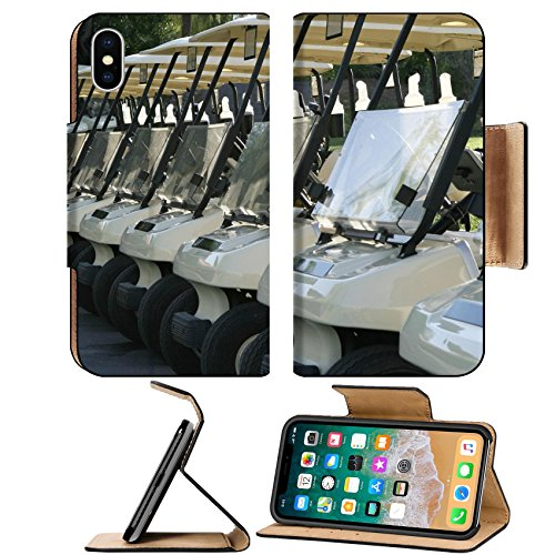MSD Premium Apple iPhone X Flip Pu Leather Wallet Case A row of golf carts are lined up at the starting area and are ready to begin the day IMAGE 18962620