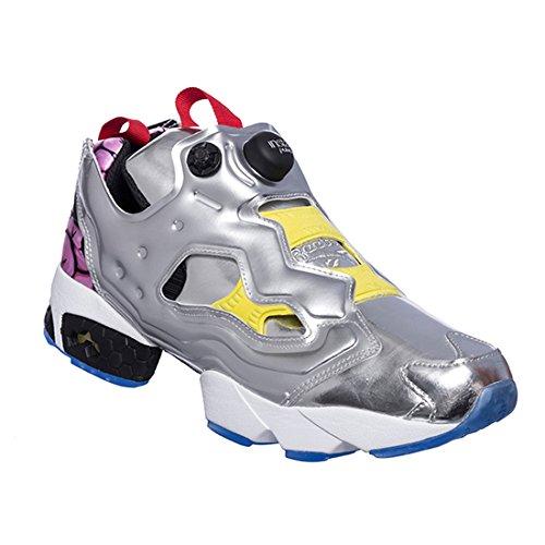 Reebok AR1445 Men Instapump Fury OG VP Sneakers SILV MET Black Yellow