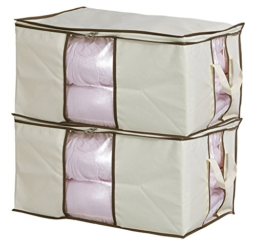 MISSLO Jumbo Zippered Storage Bags for Closet King Comforter, Clothes, Blanket Organizers Heavy Fabric Space Saver (Plastic Bedding Storage Bags)