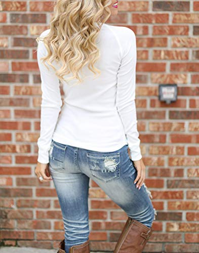 Tee Jumper Col V Manches Blouse Shirt Femmes Longues Tops Automne JackenLOVE Pulls Blanc T Slim Fashion Printemps Haut et vqOw8PS
