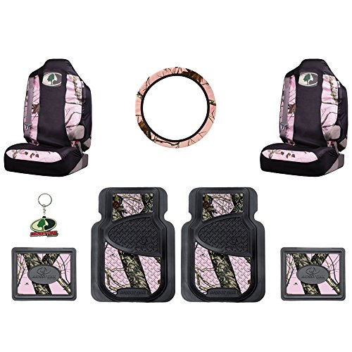 Mossy-Oak-Infinity-Pink-Camo-Print-Car-Truck-SUV-Front-Rear-Seat-Heavy-Duty-Trim-to-Fit-Rubber-Floor-Mats-Universal-fit-Front-Bucket-Seat-Covers-Steering-Wheel-Cover-Key-Chain-8PC