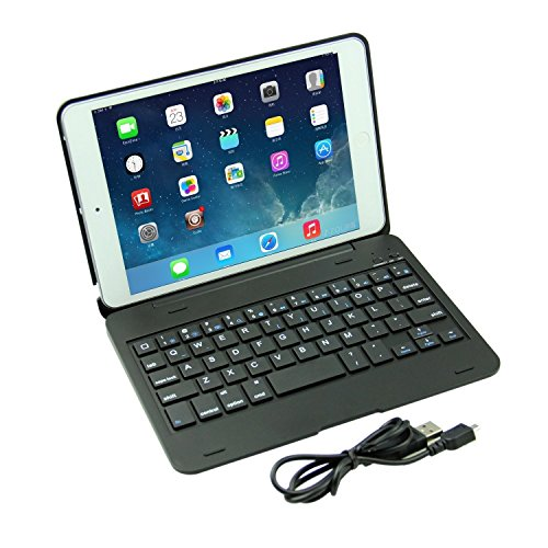 DAXXIS iPad Mini 4 Wireless Bluetooth Keyboard Case, Ultra-Slim Aluminum Folio Smart Clamshell Stand Case for Apple iPad Mini 4 (Black) by DAXXIS