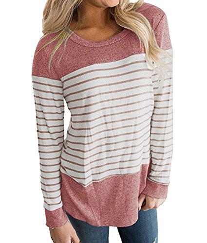 Camicie Donne Maglie Maglietta Primavera Casual Tees Rosa Manica Bluse Jumper Tops Felpe Shirts Autunno Righe a OUFour Rotondo e T Cucitura Collo Lunga CUwqFFt4