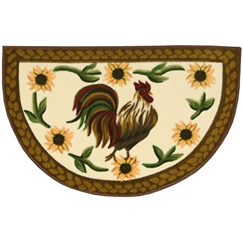 - Rooster Semicircle Rug, Yellow Sunflowers Brown Border Half Circle Hearth Rug Farm Animal Theme, Chicken Graphic Ivory Semi Circle Floor Mat Half Moon Shape Country Kitchen, 1'7 x 2'7 Acrylic