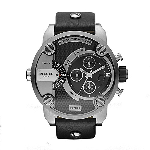 Diesel-Mens-DZ7256-Little-Daddy-Stainless-Steel-Black-Leather-Watch