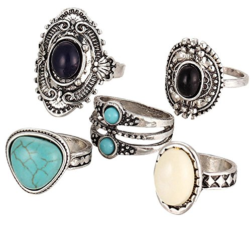 Hot Sale!UMFun 5pcs/Set Women Bohemian Vintage Silver Stack Rings Above Knuckle Blue Rings Set -
