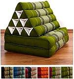 Kapokkissen der Marke Livasia, Thaikissen aus Thailand, Thaikissen mit 2 Auflagen, Dreieckskissen bzw. Triangelkissen als Jumbo XXL Sitzkissen und Thaimatte (grün)