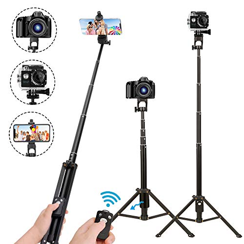 Selfie Stick Tripod,54 Inch Extendable Camera Tripod for Cellphone,Wireless Remote for Apple & Android Devices,Compatible with iPhone 6 7 8 X Plus,Samsung Galaxy S9 Note8,Gopro Adapter Included (Best Selfie Stick For Iphone And Android)