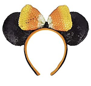 Disney Parks Halloween Candy Corn Sequin Bow Mickey Mouse Mouse Ears Headband