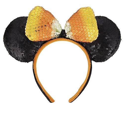 Disney Parks Halloween Candy Corn Sequin Bow Mickey Mouse Mouse Ears Headband