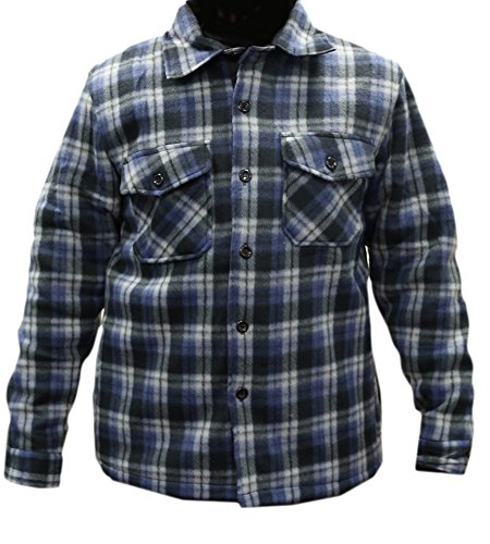 Woodland Supply Co. Men's Heavy Warm Fleece Sherpa Lined Zip Up Buffalo Plaid Jacket,Medium,Blue/Black ()