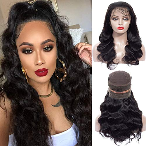 (Human Hair 360 Lace Frontal Wigs 14 Inch Brazilian Virgin Lace Front Wigs Human Hair Pre Plucked With Baby Hair For Black Women Natural Black Color(14 inch, 150% Density))