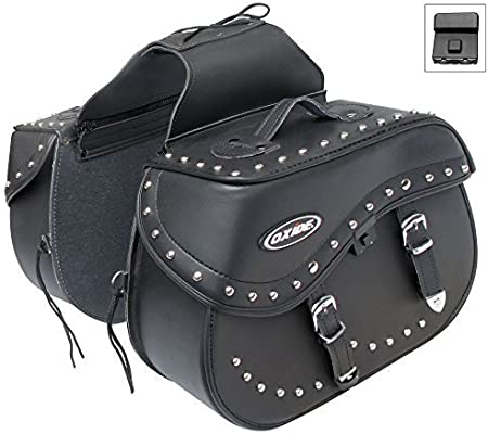 MOTORCYCLE SADDLE BAGS BLACK LEATHER throw over style MOTORBIKE Panniers Pair