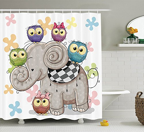 [Cartoon Decor Shower Curtain Set Cute Cartoon Elephant And Owls On A Floral Background Animal Love Big Eyes Boys Girls Decor Bathroom Accessories] (Vintage Pin Up Girl Costume Ideas)