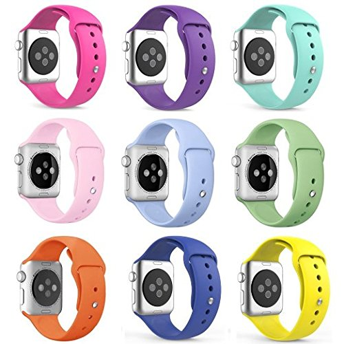 Apple Watch 42MM Band HuanlongTM New Soft Silicone Sport Style Replacement Iwatch Strap for Apple Wrist Watch 9 colors bandle 42mm M L